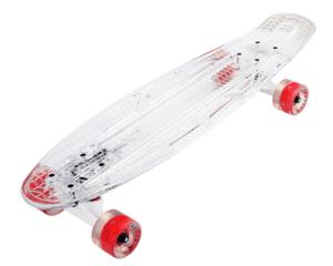 Скейтборд прозрачный PLAYSHION со светящимися колесами FS-LS002W (Белый)
